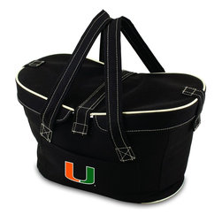 Picnic Time - University of Miami Mercado Picnic Basket in Black - This Mercado Basket combines the fun and romance of a basket with the practicality of a lightweight canvas tote. It's made of polyester with water-resistant PEVA liner and has a fully removable lid for more versatility. Take it to the farmers market, the beach, or use it in the car for long trips. Carry food or sundries to and from home, or pack a lunch for you and your friends or family to share when you reach your destination. The Mercado is the perfect all-around soft-sided, insulated basket cooler to use when you want to transport a lunch or food items and look fashionable doing it.; College Name: University of Miami; Mascot: Hurricanes; Decoration: Digital Print; Includes: 1 removable canvas lid