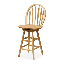 """Winsome - Basics Natural 24"""" Swivel Windsor Bar Stool - With its comfortable country design, the Windsor barstool will suit any kitchen or bar area nicely. Made of oak, the bar stool comes in a natural wood finish. This lovely stool also features a swiveling seat. Features: -Seat height: 24"""". -Natural finish. -Swivel seat. -Material: Oak. -Dimensions: 40"""" H x 18"""" W x 17"""" D. -Suited for Residential use only. Please be aware that we are unable to ship this product to Puerto Rico."""