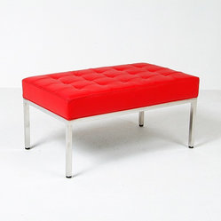Modern Classics - Florence Knoll: 36 inch Bench Reproduction - Leather - Features:Polished stainless steel b