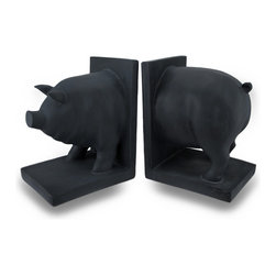 Zeckos - Pair of Matte Black Enamel Pig Bookends Bookshelf Decor - This pair of matte black enamel pig bookends is painted with chalkboard paint, and you can draw on them with chalk to leave yourself a note, mark where a book belongs, or just draw a funny picture on a pig...Each bookend measures 7 inches tall, 5 1/2 inches long and 4 3/8 inches wide. They make a great gift for anyone who loves pigs, or for anyone who loves bacon.