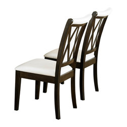 Homelegance - Homelegance Garvey Side Chair with White Bi-Cast Vinyl Seat - Beautiful from every angle, the ebony finished Garvey collection is a unique addition to your contemporary or transitional casual dining room. The boldly designed base of the table features interwoven wood slats creating a birdcage effect. The radiating walnut veneer pattern of the tabletop creates another design layer that takes the style to the next level. With two chair options, the collection becomes exactly what you envision. White or dark brown bi-cast vinyl seating and backs are accented with the base's X-design rounding out the look.