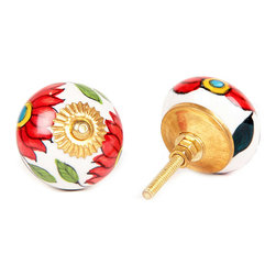 MarktSq - Ceramic Knob with Big Red Flowers (Set of 4) - Cheerful ceramic knob with bright red flowers. Comes with golden cap and back plate that add to its charm. Sold as a set of 4.