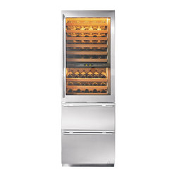 """Subzero 27"""" Built-in Tri Zone Wine/Refrigerator Storage - In my dream kitchen, or butler's pantry since we're talking dreams. I would have one or two of these...Not only are they stunning to look at but if you're a wine buff, they're functional as can be! Major splurge, but would certainly define the space."""