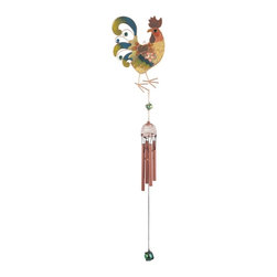GSC - 31 Inch Multi-Colored Glittery Rooster Copper/Gem Wind Chime - This gorgeous 31 Inch Multi-Colored Glittery Rooster Copper/Gem Wind Chime has the finest details and highest quality you will find anywhere! 31 Inch Multi-Colored Glittery Rooster Copper/Gem Wind Chime is truly remarkable.