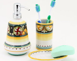 Artistica - Hand Made in Italy - Deruta Vario: Bathroom Set - Soap Dispenser, Soap Dish, Tumbler - Deruta Vario Collection: Over 500 years of artistic heritage has produced a multitude of ceramic artists in the Italian town of Deruta.