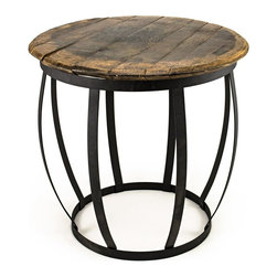 Bambeco - Wood Barrel Side Table - A taste of American spirit with a hankering for history—tap into the past, the pioneering spirit, an American dream. Authentic white oak Kentucky Bourbon barrelheads, still bearing their distillery stamps, are proudly handcrafted into your next favorite conversation piece. Pull up a chair and marvel at the quality and character of this treasured American find. Enjoy as a table or stool.