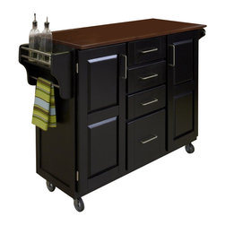 Home Styles - Home Styles Create-a-Cart in Black Finish with Oak Top - Home Styles - Kitchen Carts - 91001046G - Home Styles Create-a-cart in a black finish with a 3/4 inch oak finished wood top features solid wood construction, and 4-Utility drawers; 2 cabinet doors open to storage with adjustable shelf inside; Handy spice rack with Towel bar; Paper Towel holder; Heavy duty locking rubber casters for easy mobility and safety. Size: 48w 17.75d 35.5h. Assembly required.