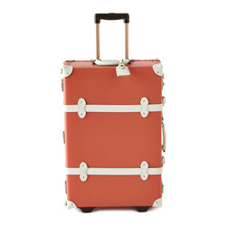 """Horchow - Orange Correspondent Carry-On Case - Orange Correspondent Carry-On CaseDetailsHandcrafted carry-on made of fiberboard.Leather straps.TSA-approved lock.Aluminum extendible trolley handle.Detachable wash bag.Approximately 13""""W x 7.5""""D x 18.75""""T.Imported."""