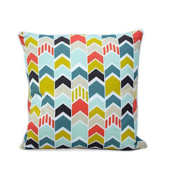Moderncre8ve - Multicolor Chevrons 18 x18 Down Throw Pillow w/ White Piping - Multicolor Chevrons 18 x18 Down Throw Pillow w/ White Piping