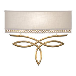 Fine Art Lamps - Allegretto Gold Sconce, 785650-2ST - A graceful metal looping design in one liquid stroke gives this sconce a feeling of lightness and spontaneity. The gold or silver loops are subtly picked up in the metal gallery of the horizontal linen shade. It's an elegant and uplifting piece for the contemporary home.