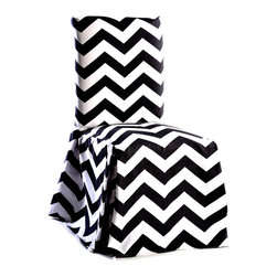 Classic Slipcovers - Chevron Cotton Dining Chair Slipcover Pair - Update your home decor with the modern chevron print on cotton long dining chair slipcovers. Durable construction makes this slipcover perfect for everyday use,this long dining chair cover has pleated corners and a bowtie to keep the cover in place.
