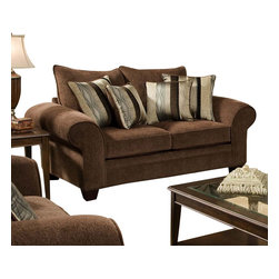 Chelsea Home Furniture - Chelsea Home Clearlake Loveseat in Masterpiece Chocolate - Kendu Onyx Pillows - Clearlake loveseat in Masterpiece Chocolate - Kendu Onyx Pillows belongs to the Chelsea Home Furniture collection