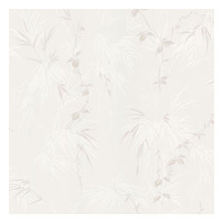 Brewster Home Fashions - Nessa Stone Satin Leaf Motif Wallpaper Bolt - Chic and exotic this tropical leaf wallcovering in a polished stone and ivory hue radiates a lovely satin finish on walls that brings rare beauty to your bath space.