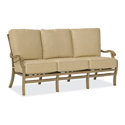 Thos. Baker - Catalina Outdoor Sofa - The catalina collection features subtly weathered heavy-gauge aluminum frames, elegantly set-off with romantic accents and a classic crossback style. Plush cushion sets are covered in premium Sunbrella outdoor fabrics made-to-order in your choice of signiture solid and textured colors or premium woven and striped patterns.Signature or premium cushion sales are final and ship in 2-3 weeks.