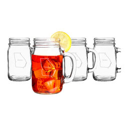 None - Personalized Home State Old Fashioned Drinking Jars (Set of 4) - Show off your hometown pride with these vintage-inspired drinking jars. Engraved with the word 'home',this customized set of dishwasher-safe jars is crafted with solid glass to accommodate both hot and cold beverages.