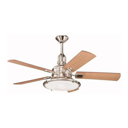 "Kichler - 52"" Kittery Point 52"" Ceiling Fan Polished Nickel - Kichler 52"" Kittery Point Model 300020PN in Polished Nickel with Reversible Maple/Sapelle Finished Blades."