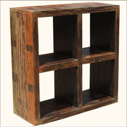 Primitive Open Back Mango Wood Entertainment Book Shelf -