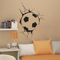 StickONmania - Soccer Ball in Wall Sticker - A soccer ball makes a crack in the wall Decorate your home with original vinyl decals made to order in our shop located in the USA. We only use the best equipment and materials to guarantee the everlasting quality of each vinyl sticker. Our original wall art design stickers are easy to apply on most flat surfaces, including slightly textured walls, windows, mirrors, or any smooth surface. Some wall decals may come in multiple pieces due to the size of the design, different sizes of most of our vinyl stickers are available, please message us for a quote. Interior wall decor stickers come with a MATTE finish that is easier to remove from painted surfaces but Exterior stickers for cars,  bathrooms and refrigerators come with a stickier GLOSSY finish that can also be used for exterior purposes. We DO NOT recommend using glossy finish stickers on walls. All of our Vinyl wall decals are removable but not re-positionable, simply peel and stick, no glue or chemicals needed. Our decals always come with instructions and if you order from Houzz we will always add a small thank you gift.