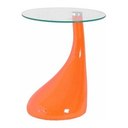 Jupiter Coffee Table - Orange - Even though those flying cars never really came to fruition, you can still celebrate the old-school Space Age aesthetic with the Jupiter Coffee Table - Orange. A fashionable future for any room in your house, this table is crafted of ABS with a high-gloss orange finish. And you'll love the teardrop-shaped silhouette - it wouldn't be out of place in a contemporary art museum.Up top, the round top is made of clear glass, and it's the perfect perch for your favorite drinks. Corner, couch-side, even next to a bed - it's that daring design statement you've been looking for.About International Design Inc.International Design Inc. continually creates unique concepts to offer the latest styles in contemporary seating. Tie any room in your house together with a set of leisure chairs, bar stools, or dining chairs. Made of mostly solid hardwood and steel bases, their chairs are aesthetically sophisticated and built to last, for years to come. International Design, Inc. is based out of Brooklyn, NY which provides them with a head start on the competition being located in one of the most fashion-minded locations in the world. Bring International Design Inc. chairs and stools into your home to enjoy comfort and the distinguishing appeal they provide to any space!