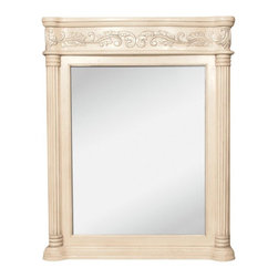 "Hardware Resources - Jeffrey Alexander Antique Mirror in Antique White (MIR011) - 33 11/16"" x 42"" Antique white mirror with hand carved details and beveled glass"