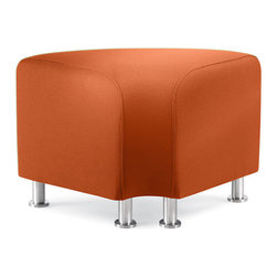 Turnstone - Alight Corner Ottoman - The Alight Corner Ottoman is a lightweight, sturdy ottoman that is suited equally well for home or contract use. Bright upholstery and brushed aluminum legs make it attractive. Can be combined with the Alight Bench Ottoman to make curved bench seating.