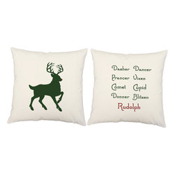 RoomCraft - Set of 2 Christmas Holiday Pillows, White, Santa's Reindeer, Covers and Pillows - FEATURES: