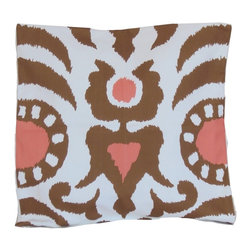 """Brown Agra 22"""" Pillow - Printed Cotton, 10/90 Down Insert"""