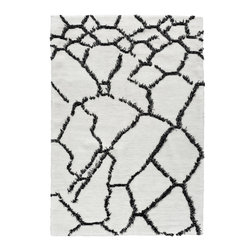 Hand-Woven Mongoli Rug, Woven in Nepal, 3x5 - This handmade rug was woven in Nepal, made from the highest quality wool. Its inviting, black and white open design makes a real statement in any space, and could be just the pop your living area needs.