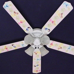 Ceiling Fan Designers Disney Princesses Dancing Indoor Ceiling Fan - Your little princess is going to love her Ceiling Fan Designers Disney Princesses Dancing Indoor Ceiling Fan. This pretty ceiling fan has all of her favorite Disney princesses dancing in their own oval cameos. A pretty way to cool down and light up her room, this ceiling fan and light kit combo comes in your choice of size: 42-inch with 4 blades or 52-inch with 5. The blades are reversible so you get the princess design on one side and white on the other. Ideal for transitioning the room when she's older. It has a powerful yet quiet 120-volt, 3-speed motor with easy switch for year-round comfort. The 42-inch fan includes a schoolhouse-style white glass shade and requires one 60-watt candelabra bulb (not included). The 52-inch fan has three alabaster glass shades and requires three 60-watt candelabra bulbs (included). Your ceiling fan includes a 15- to 30-year manufacturer's warranty (based on size). It is not an officially licensed product. Licensed products were used as decorations. She's going to love it!