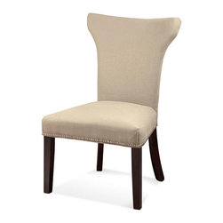 Bassett Mirror Company - Bassett Mirror Nailhead Parsons Chair in Natural Linen [Set of 2] - Nailhead Parsons Chair in Natural Linen belongs to Other Collection by Bassett Mirror Company Nailhead Parsons Chair in Natural Linen Dining Chair (1)