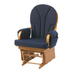 Foundations - Foundations Nursery Baby Furniture Lullaby Adult Glider Rocker - The Lullaby is a great value for the cost conscious. Constructed of Solid Wood. Durable material removable for laundering (arm rests & seat cover only). Storage pockets keep baby's necessities within reach.