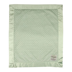 "Dot Velour Baby Blanket, Sage Green - These velour baby blankets, embossed with a raised dot texture, have become a My Blankee best seller. A celebrity among baby shower gifts, the Dot Blanket also comes in a selection of over twenty-one eye catching colors ranging from soft pastels to bright and vibrant hues, all lined with a matching 3"" satin ruffled border to make this a luxury baby blanket with personality."