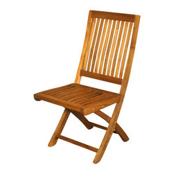 Solid Teak Folding Outdoor Patio Garden Beach Chair - Solid Teak Construction