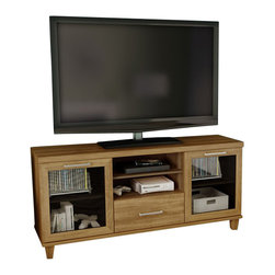South Shore - South Shore Adrian Transitional TV Stand in Harvest Maple - South Shore - TV Stands - 4926662 - This TV stand places your TV at the perfect viewing height while collectively organizing and inspiring your living space. Storage features include an adjustable shelf behind each framed glass door a practical drawer and two open storage spaces. Decorative wooden legs and trendy metal handles add the finishing touches to this well rounded TV stand.