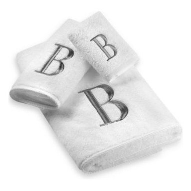 Avanti - Avanti Premier Silver Block Monogram Bath Towels in White - Classic and sophisticated, these monogrammed towels will add that subtle personal touch to your bathroom decor. Block letter is embroidered with great detail over an incredibly soft towel.