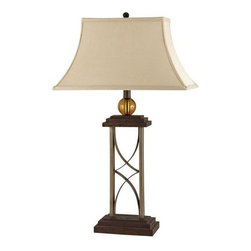 CAL Lighting - Cal Lighting On/Off Push Bottom Base Switch Table Lamp in Dark Oak - 100W Desk Lamp with 2 Outlets