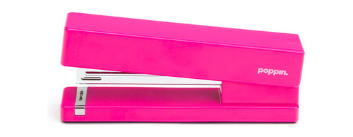 Poppin - Stapler, Pink - Make your work day a little more fun with a playful desk accessory like one of these bright, pop-colored staplers (OK, you can still have black if you insist.) You'll smile every time that steel anvil ka-chunks through 20 sheets of paper. Just don't let your office mates steal it.