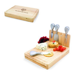 Picnic Time - Baltimore Ravens Asiago Folding Cutting Board With Tools in Natural Wood - The Asiago is a folding cutting board with tools that is another Picnic Time original design. This compact, fully-contained split-level cutting board is made of eco-friendly rubberwood. Lift up the top level of the board to reveal four brushed stainless steel cheese tools: a pointed-tipped cheese knife, cheese fork, cheese chisel knife, and blunt nosed hard cheese knife. The tools are magnetically secured to a wooden strip that lifts up so you can close the cutting board and display the tools. Designed with convenience in mind, the Asiago is great for home or anywhere the party takes you.; Decoration: Engraved; Includes: 4 brushed stainless steel cheese tools (1 pointed-tipped hard cheese knife, cheese fork, cheese chisel knife, and blunt nosed soft cheese knife
