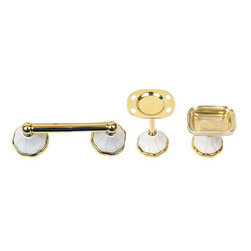 Moen - Moen Polished Brass 'Rivera' 3-piece Bath Accessory Kit - Update your bathroom with a Moen 'Rivera' polished brass bath accessory kit Three-piece set includes pedestal toothbrush holder, pedestal soap holder and paper holder Bathroom accessories feature polished brass finish