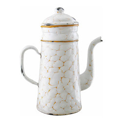 "Orange Chickenwire Enamel Coffee Pot - This French coffee biggin will surely be appreciated by fans of ""chicken-wire"" enamelware. This beauty, dating from the 1920s, features heavy white enameling decorated by a well-defined, orange chicken-wire pattern and bright orange trims."