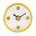 Maple's Clocks - Yellow Bike Aluminum Rim Wall Clock - Aluminum rim. Screw driver & wrench style hands. Conspicuous arabic numerals. 1.75 in. W x 16 in. L x 16 in. HThis wall clock features a yellow painted aluminum bicycle wheel.  There is a wrench hour hand and a screwdriver minute hand, along with a center gear that ticks every second.  Attached to the spokes are numbers every quarter hour.  The clock is 16 inches in diameter and 1.75 inches deep.  Precision time is kept with a quartz crystal.  The clock requires 1 AA battery (not included) and a 1 year limited warranty is included.