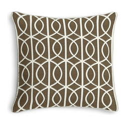 Taupe Modern Trellis Corded Throw Pillow - Black and white photos, Louis XIV chairs, crown molding: classic is always classy. So it is with this long-time decorator's favorite: the Corded Throw Pillow.  We love it in this rounded trellis in taupe & white on soft lightweight line. your gateway to a chic modern look.