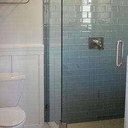 Ocean Glass Subway Tile Shower Walls -