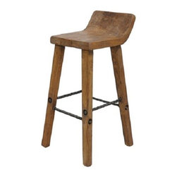 "Artie Solid Wood Rustic Counter Stool - Artie Solid Wood Rustic Counter Stool. Rustic Wooden Bar/Counter Stool with Wrought Iron Rungs In Natural Finish. Dimensions: Height:32"" Seat Height: 26"" Width: 14"" Depth: 18"" Seat Depth: 12"""