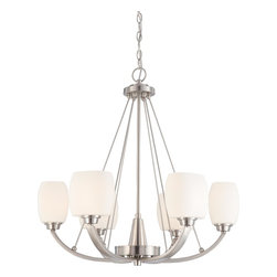 Nuvo Lighting - Nuvo Lighting 60/4186 Chandelier - Brushed Nickel - This collection's lighter than air appearance creates the illusion that Helium's glass shades are floating above the fixture's frame. Strong, yet open and airy, Helium is the right match for many contemporary home designs.