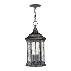 Hinkley Lighting - Hinkley Lighting 1722BG Regal Traditional Outdoor Hanging Light - Regal has a grand Old World style that features elegant decorative stamped detailing in a Black Granite finish combined with clear seedy water glass for added sophistication