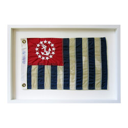 Kathy Kuo Home - United States Power Squadrons Aged Flag  Wall Decor - by Karen Robertson - You don't need to run this up the flagpole to see that it can anchor your room's decor in nautical style. This reproduction of the United States Power Squadrons flag is a salute to a tradition of safety at sea.