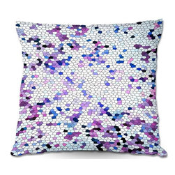 DiaNoche Designs - Pillow Woven Poplin from DiaNoche Designs by Iris Lehnhardt - Mosaic Veil Purple - DiaNoche Designs works with artists from around the world to create astouding and unique home decor products.  Toss this decorative pillow on any bed, sofa or chair, and add personality to your chic and stylish decor. Lay your head against your new art and relax! Made of woven Poly-Poplin.  Includes a cushy supportive pillow insert, zipped inside. Dye Sublimation printing adheres the ink to the material for long life and durability. Double Sided Print, Machine Washable, Product may vary slightly from image.
