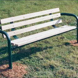 Fifthroom - Single Sided, 6 Planked Inground Mount Park Bench - Once you plant our Six-Planked Inground Mount Park Bench, it will be there to stay.  Its heavy-duty galvanized steel frame provides strong, unwavering support for the seat and back planks.  In decay-resistant untreated pine, extra-durable pressure treated pine, or nearly indestructible, maintenance-free recycled plastic, it's available in lengths of six and eight feet.  No matter which version you choose, you can count on decades of faithful service from this bench.