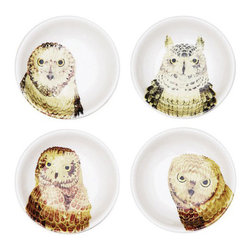 4-Pc. Owl Bowl Set - Each bowl features a different type of owl for a touch of woodland charm. These owl bowls bring natural appeal to your kitchen as beautiful accent pieces.